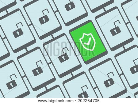 Mobile security concept vector illustration with multiple secure and unsecured smart phones