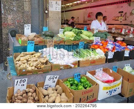 China Town in New York City - June 20 2017 - Vendors selling produce along the streets of China Town