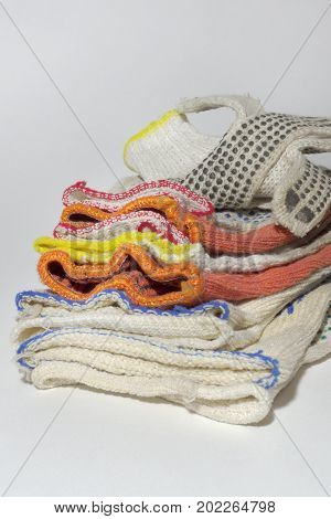 Batch Of Protective Cotton Gloves For Industrial Workers And Home Gardening