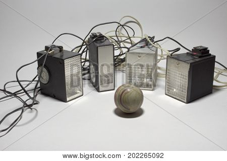 Vintage Electronic Camera Flashes, Surrounding The Ball Of Marble Onyx
