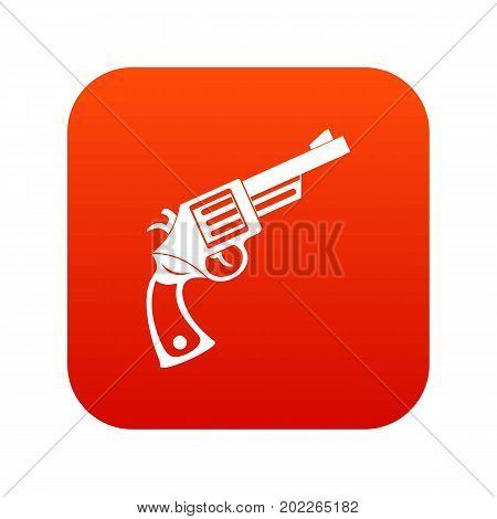 Vintage revolver icon digital red for any design isolated on white vector illustration
