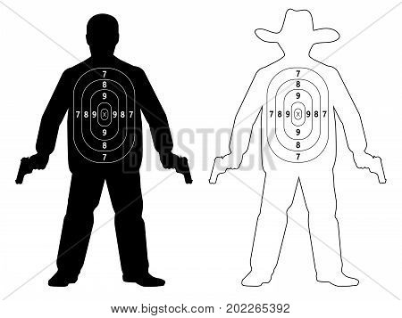 Target shoot human gun, vector (two target)
