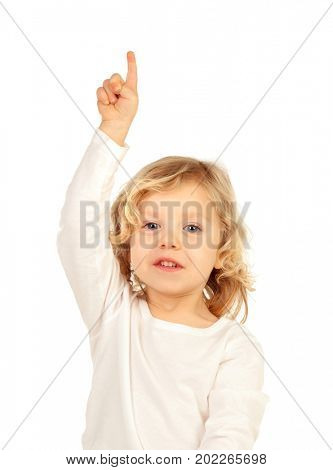 Adorable baby with blond long hair raising the hand isolated on a white background