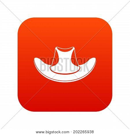 Cowboy hat icon digital red for any design isolated on white vector illustration
