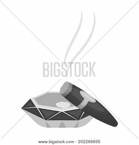 A smoking cigar in an ashtray. Smoking cigars single icon in monochrome style vector symbol stock illustration .