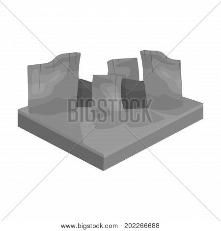 Mountains, rocks and landscape. Relief and mountains single icon in monochrome style isometric vector symbol stock illustration .