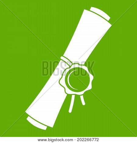 Old rolled paper with a red wax seal icon white isolated on green background. Vector illustration