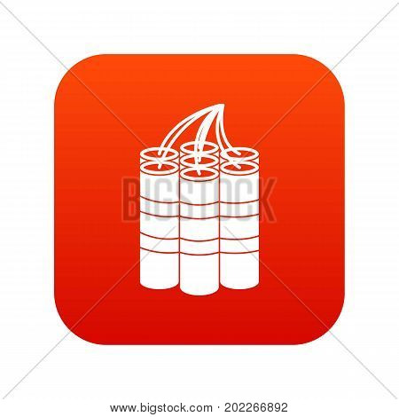 Dynamite sticks icon digital red for any design isolated on white vector illustration