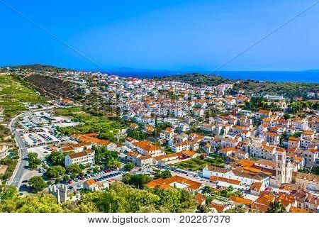 Aerial cityscape of ancient town Hvar, popular summer resort on Island Hvar, Croatia.