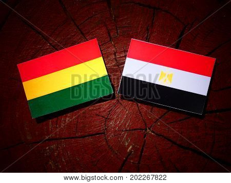 Bolivian Flag With Egyptian Flag On A Tree Stump Isolated