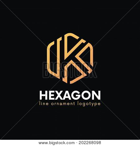 Elegant K Letter Luxury Logo Hexagon Sign Vector Design