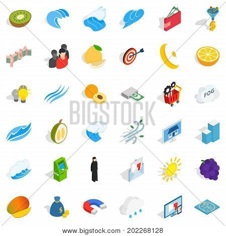 Universal icons set. Isometric style of 36 universal vector icons for web isolated on white background