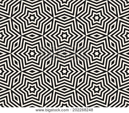 Vector geometric stars ornament, seamless pattern. Subtle monochrome geometrical texture. Abstract linear shapes, repeat tiles. Delicate mosaic background. Design for decor, fabric, textile, linens.
