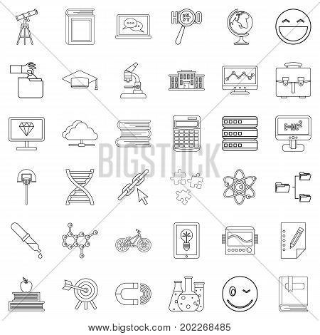 University icons set. Outline style of 36 university vector icons for web isolated on white background