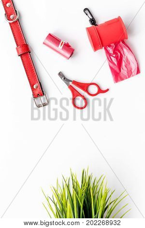 red grooming equipment with collar for care and training pet on white desk background top view mock up