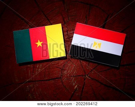 Cameroon Flag With Egyptian Flag On A Tree Stump Isolated