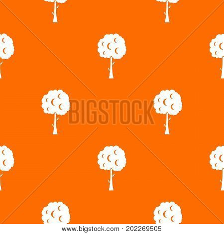 Tree with spherical crown pattern repeat seamless in orange color for any design. Vector geometric illustration
