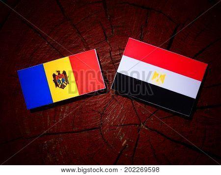 Moldovan Flag With Egyptian Flag On A Tree Stump Isolated