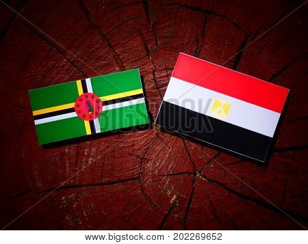 Dominica Flag With Egyptian Flag On A Tree Stump Isolated