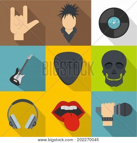 Rock musician icon set. Flat style set of 9 rock musician vector icons for web design