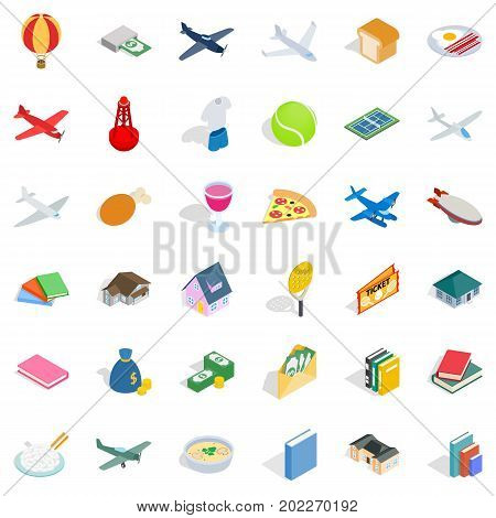 Variety icons set. Isometric style of 36 variety vector icons for web isolated on white background