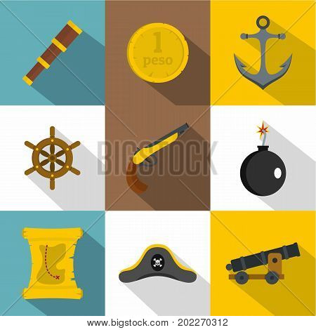 Pirates element icon set. Flat style set of 9 pirates element vector icons for web design