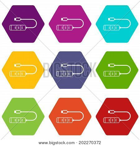 USB adapter connectors icon set many color hexahedron isolated on white vector illustration