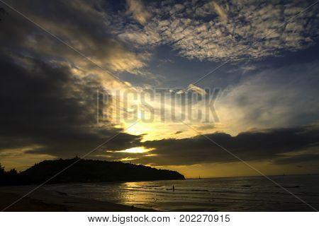 Sunrise and shadow mountain the beach Ban Krut Beach in Prachap Kirikhun Province Thailand is famous for travel
