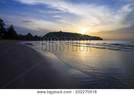 Sunrise and cloud beautiful the beach Ban Krut Beach in Prachap Kirikhun Province Thailand is famous for travel