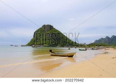 The beach Bang Boet Beach island before the rain Chumphon Province Thailand is famous for travel