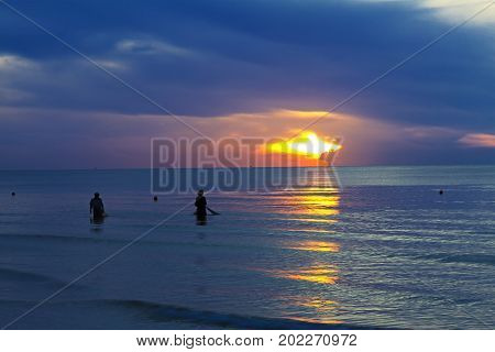 The beach Thung Wua Lan Beach morning with sunrise at Chumphon Province Thailand is famous for travel
