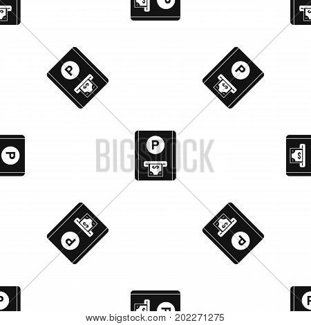 Parking fee pattern repeat seamless in black color for any design. Vector geometric illustration