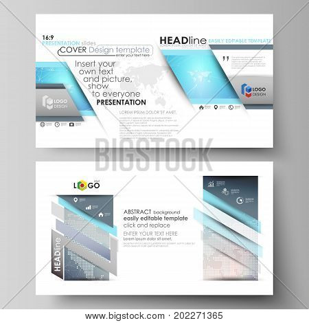 The minimalistic abstract vector illustration of the editable layout of high definition presentation slides design business templates. Molecule structure. Science, technology concept. Polygonal design.