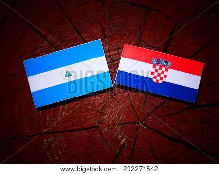 Nicaraguan flag with Croatian flag on a tree stump isolated poster