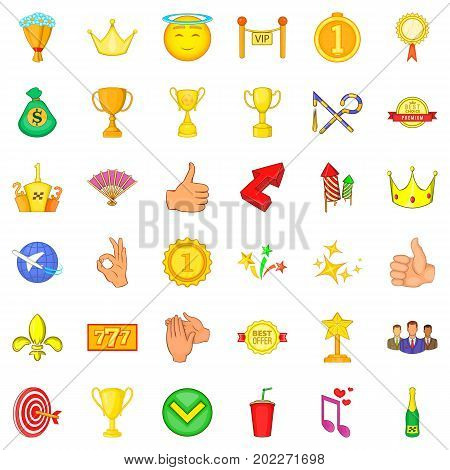 Victory icons set. Cartoon style of 36 victory vector icons for web isolated on white background