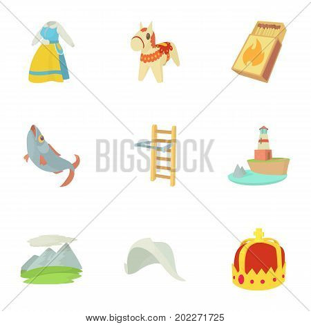 Rural icons set. Cartoon set of 9 rural vector icons for web isolated on white background
