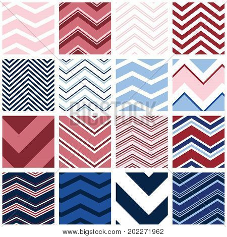 Chevrons - 16 seamless chevron patterns for digital paper, scrapbooking, invitations, announcements, gift wrap, backgrounds, borders and more.
