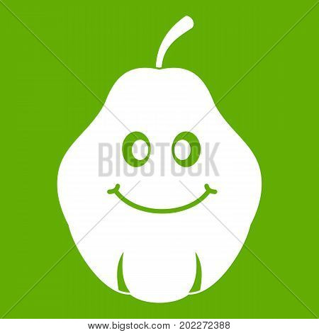 Smiling quince fruit icon white isolated on green background. Vector illustration