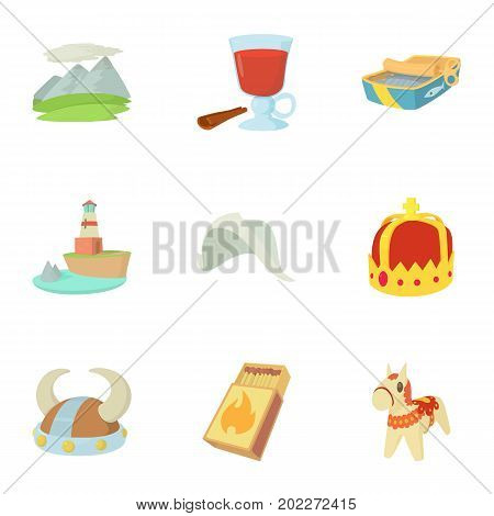 Scandinavia icons set. Cartoon set of 9 scandinavia vector icons for web isolated on white background