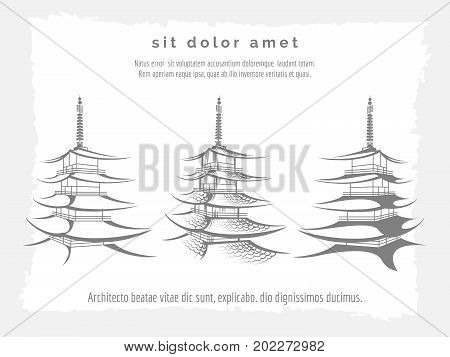 Asian pagoda set on grey vintage backdrop, vector illustration