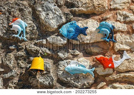 Traditional Cretan painted ceramic dishes Crete Greece