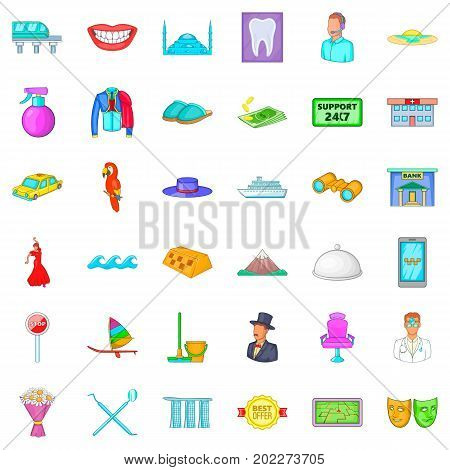 Visit icons set. Cartoon style of 36 visit vector icons for web isolated on white background