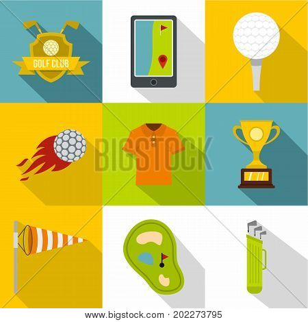Golf club icon set. Flat style set of 9 golf club vector icons for web design