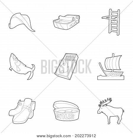 Scandinavia life icons set. Outline set of 9 scandinavia life vector icons for web isolated on white background