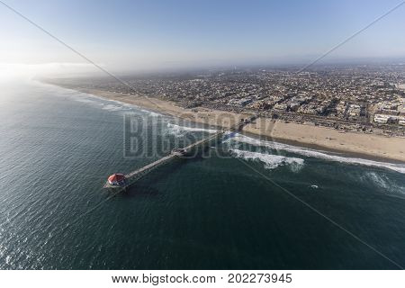 Aerial view of Huntington Beach in Orange County, California.