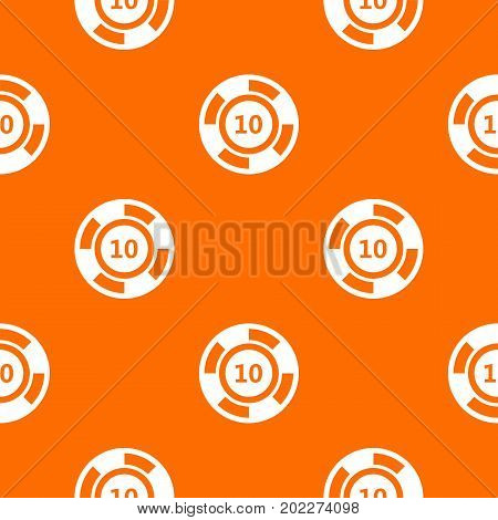 Casino chip pattern repeat seamless in orange color for any design. Vector geometric illustration