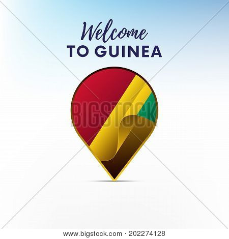 Flag of Guinea in shape of map pointer or marker. Welcome to Guinea. Vector illustration.