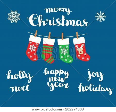 Christmas Socks vector background. handmade inscriptions christmas, holly, noel, happy new year, joy. holiday.Lettering