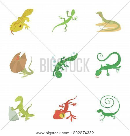 Reptile icons set. Cartoon set of 9 reptile vector icons for web isolated on white background