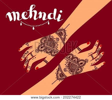 Element yoga mudra hands with mehendi patterns. Vector illustration for a yoga studio, tattoo, spas,cards, souvenirs. Indian traditional lifestyle.